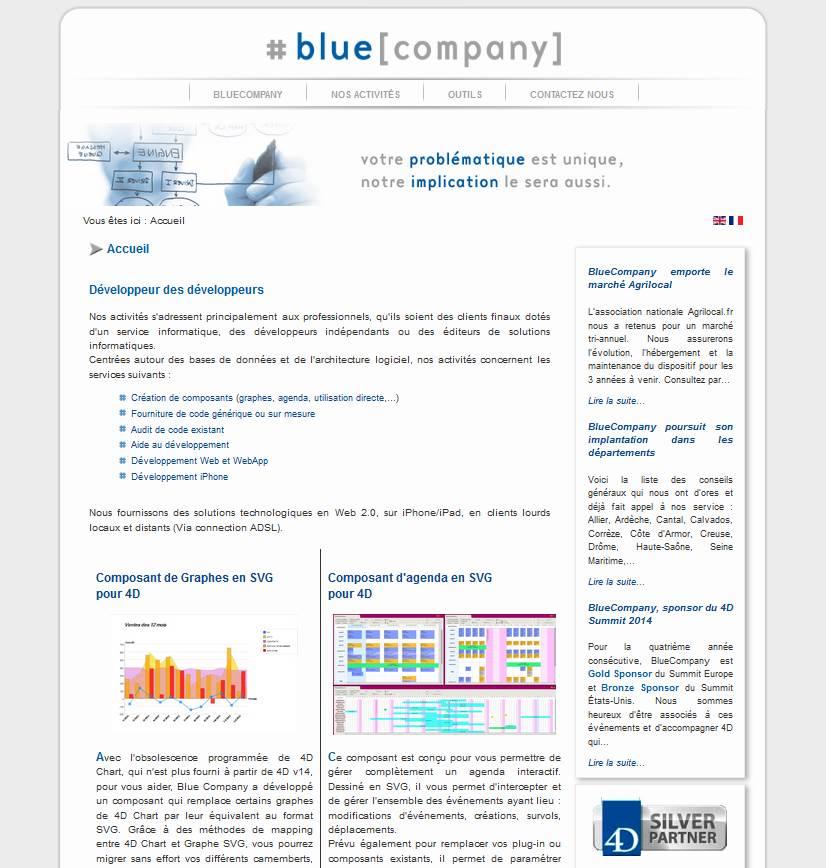 Page d'accueil du site de la société Bluecompany