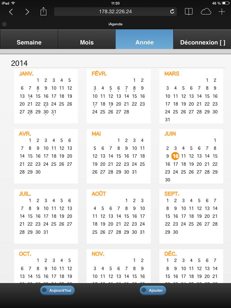 iAgenda - Calendrier vue annuelle