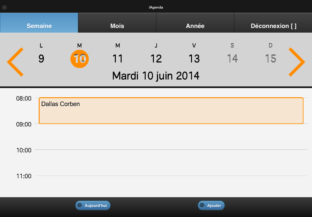 Calendrier vue semaine paysage