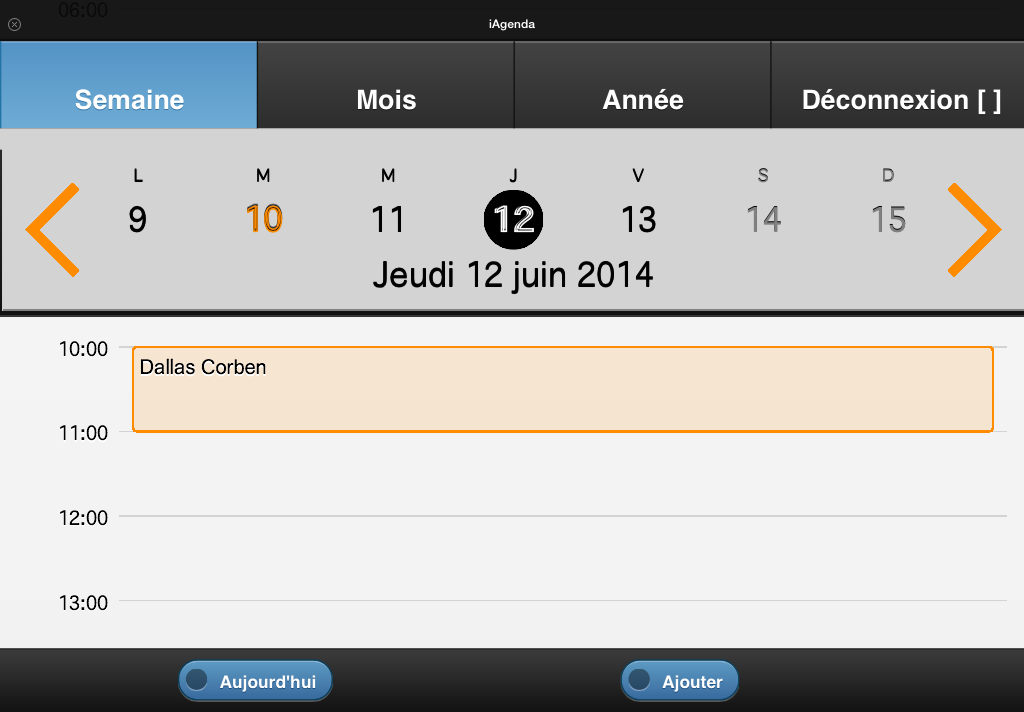 Calendrier vue semaine paysage zoom
